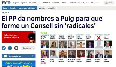 Captura de pantalla de la publicación del diario El Mundo CV con la propuesta de Bonig a Puig